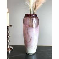 CHAVOI vaas - Glas - Roze & Wit - Mondgeblazen glas