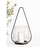AURA lantaarn/vaas - Metaal & Glas - Zwart