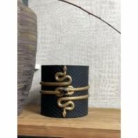 BLACK SNAKE vaas / windlicht- Polystone - Zwart & Goud