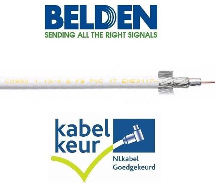 Belden CX9D0  coax 9 Duobond+ PVC kleur wit meter
