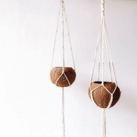 Bohemian Kokos Plantenhanger - Set van 2