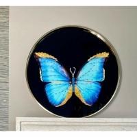 BUTTERFLY SHINE wandobject - Metaal & Kunststof - Blauw, Zw…
