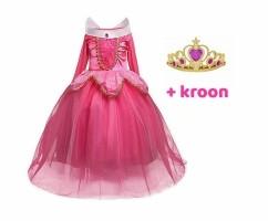 Aurora roze prinsessenjurk - verkleedjurk + Gratis Kroon La…