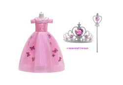 Cinderella - Assepoester roze prinsessenjurk vlinders + Gra…