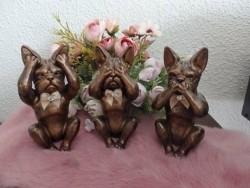 Franse Bulldog beeldjes set 3 stuks horen, zien en zwijgen
