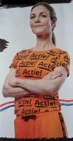Nieuw oranje dames T-shirt met all over print (maat: XL).
