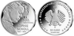 Duitsland 20 Euro 2021 Sophie Scholl