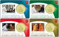 Vaticaan 2021 Coincard + Post zegel Nr. 36 + 37 + 38 + 39