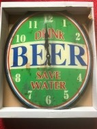 Wandklok Drink Beer Save Water