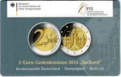 Duitsland 2 Euro 2016 Coincard Sachsen Letter A