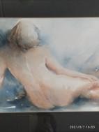 Aquarel, vrouwelijk naakt