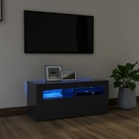 vidaXL Tv-meubel met LED-verlichting 90x35x40 cm grijs