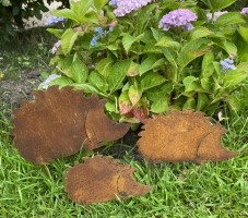 Tuinstekers Egels, Set van 3 stuks, Roestig metaal