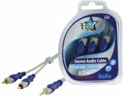 HQ, Standard 3.5mm Stereo Male - 2x RCA Male Kabel 0,75m