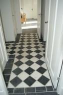 klassieke keukenvloer zwart / wit marmer 20x20 cm