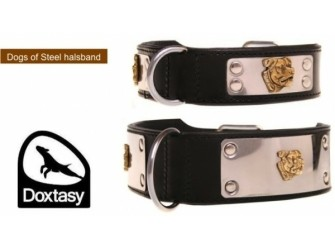 Leren halsband Dogs of steel black
