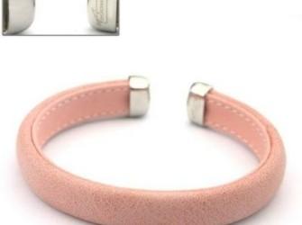 kleurige rvs damesarmbanden met leer