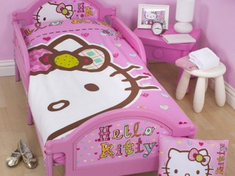 Hello Kitty FOLK Peuterbed, Luxe Matras en Beddengoed set