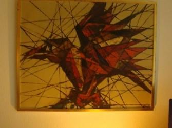 Schilderij fel gekleurde vogel