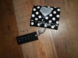 Portemonnee zwart met witstippen, merk zebra