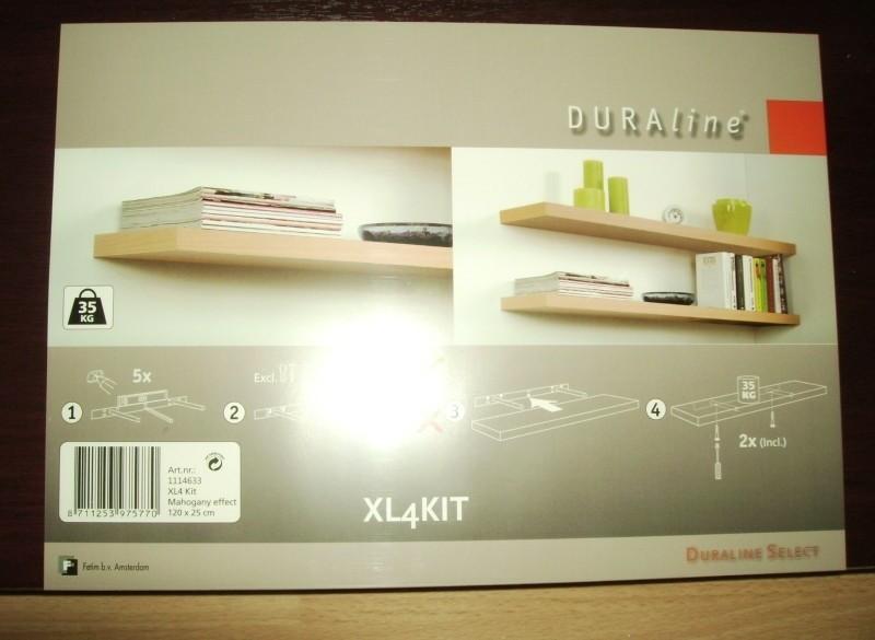 Nieuw: Duraline schap XL4KIT 120x25 cm (BxD) mahonie.