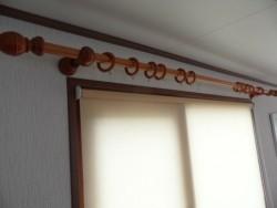 Gordijn roede en ringen. (houten)