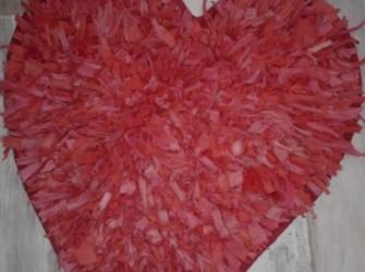 Rood/roze vloerkleed, hartvorm, maten 60x60