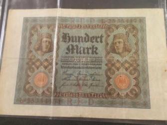 Bankbilget 100 mark uit 1920 Reichbanknote