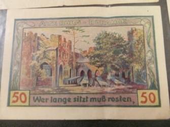 Stadt freiburg, schles 50 pfenning 1921