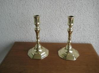 2 Antieke Franse Koperen Kandelaars ca 1800