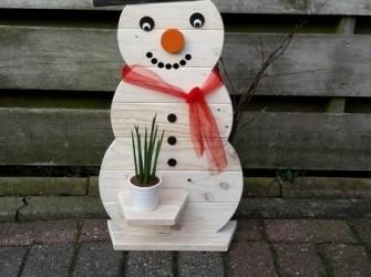 Leuke Houten Sneeuwpop / Sneeuwman (van oud pallethout)
