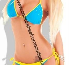 Bikini blauw geel strass sexy badmode monokini bad
