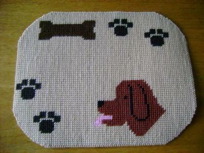 zelfgemaakte placemat model hond
