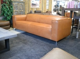 Design bank Primavera in stonewash leer cognac