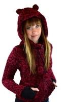 Rood fluffy Sweatvest vest jas capuchon en leuke oortjes