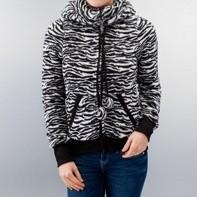 Zwart fluffy Sweatvest vest jas capuchon en leuke oortjes