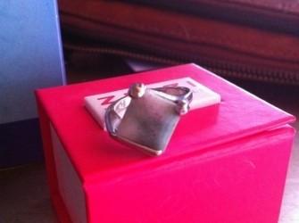 Zilveren ring met aparte steen