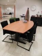 Te Koop; vergadertafel incl. 6 gestoffeerde stoel.