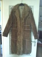 Lange lederen jas met warme voering