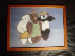 2 teddyberen tekeningen, in lijst achter glas, 43 x 39 cm