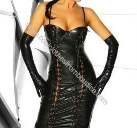 Jurk corset veter leer lak wet look corset gothic