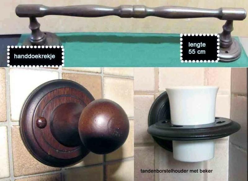 badkameraccessoires: houten handdoekrekje en haken