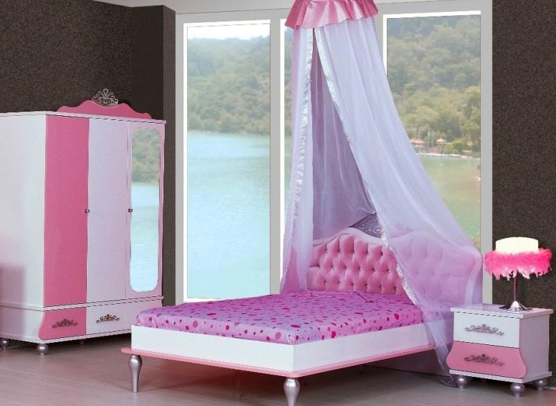 Prinsessenbed meisjesbed twijfelaar 200 x 120 Roze