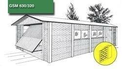 Betonnen garage enkelzijdig met handvorm steenmotief