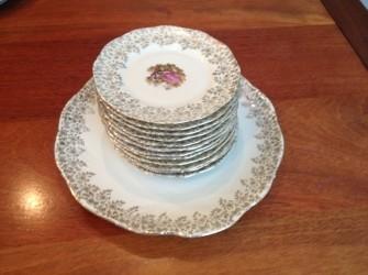 brocante winterling gebaksset met 12 bordjes