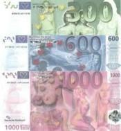 Eurobiljetten €300-€600-€1000 funbiljet/fungeld/nepgeld. UN…